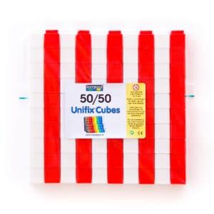 100 unfix blokjes 50/50 rood en wit in verpakking