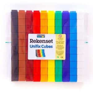 Rekenset 10 kleuren 100 unfix blokjes in verpakking